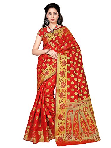 Kanchnar Cotton Silk Saree (258S55_Red,Golden)