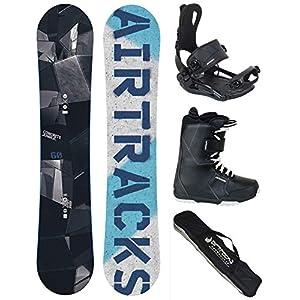 Airtracks Snowboard Komplett Set – Jungle Snowboard Rocker Wide + Snwoboardbindung Master FASTEC TM + Snowboardboots + Sb Bag / 145 150 155 160 cm
