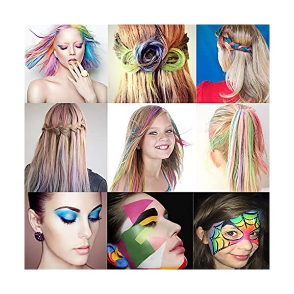 WOSTOO Pelo Tiza, 10 Colores Colorful temporales Pelo Tiza, Pelo färben para Todos los Pelo, Navidad, Carnaval, Chica…
