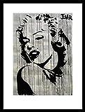 Marilyn Monroe Póster Impresión Artística con Marco (Madera DM) Negro - con Faldas Y A Lo Loco, Loui Jover (80 x 60cm)