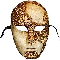 Máscara de la cara llena veneciana de lujo Volto Mac Craquele para hombres (oro)