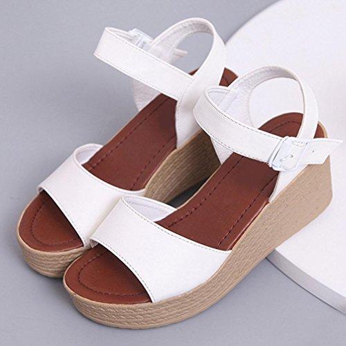 Bescita Neu Frauen Open Toe High-Heels Sandalen Frauen Strap Sommer Schuhe Weiß