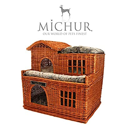 Michur Uncle Tom's Hut beige wicker house cave bed for dogs cats incl. Pillows 1
