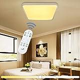 VINGO® 60W LED Deckenleuchte Stufenlos Dimmbar Eckig Wohnzimmerlampe Esszimmerlampe Schlafzimmerleuchte Badezimmerlampe spritzwassergeschützt