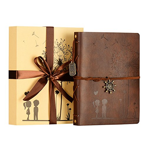 ZEEYUAN Scrapbook Album, Liebe Scrapbook Löwenzahn Leder Fotoalbum Familie Special Weihnachten Valentines Geburtstag Geschenke einzigartiges Geschenk für Frauen, mit Einer Geschenkbox Kommen(Kaffee)