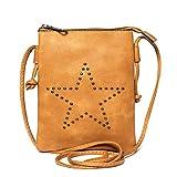 Kandharis Damen Umhängetasche Schultertasche mit Riemen Minibag Mintasche Nieten Stern Kugennieten Ethno Boho CrossOver Tasche GB-17 Braun