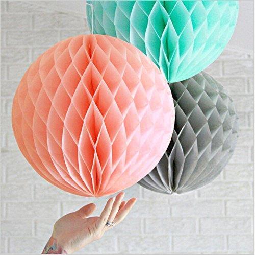 SUNBEAUTY 3er Set 20cm/25cm Türkis Rosa Grau Honeycombs Wabenball Dekoration (20cm)