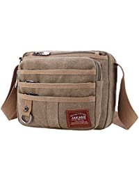 9a914ed0cc JAKAGO Small Waterproof Casual Canvas Shoulder Bag Messenger Bag Crossbody  Bag Mens Satchel iPhone Ipad Mini Bag with Multi Pockets for…