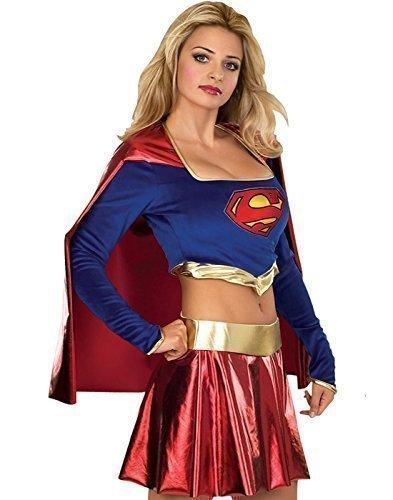 Deluxe Damen SUPERGIRL Powerfrau Superman Superheld Kostüm Kleid Outfit - Blau, Blau, 12-14 (Supergirl Stiefel)