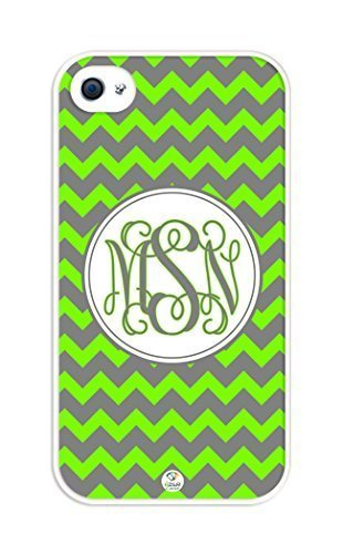 esleader-monogram-personalized-lawn-green-and-grey-chevron-pattern-rubber-iphone-4-case-fits-iphone-