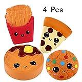 Anboor Squishies 4 Pcs Pommes Frites, Kuchen, Kekse, Pizza Langsam steigend Super Soft Scented Kawaii Squeeze Squishy Food Pack Spielzeug Stress Relief Geschenk Sammlung
