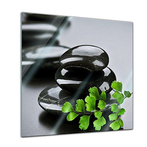 Glasbild - Zen Steine XV - 30x30 cm - Deko Glas - Wandbild aus Glas - Bild auf Glas - Moderne Glasbilder - Glasfoto - Echtglas - kein Acryl - Handmade