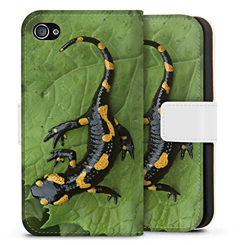 Apple iPhone X Silikon Hülle Case Schutzhülle Salamander Echse Reptil Sideflip Tasche weiß