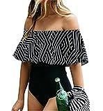 THEE Damen Schulterfrei Bikini Badeanzug Schwarz Einteilig (XL, Schwarz)