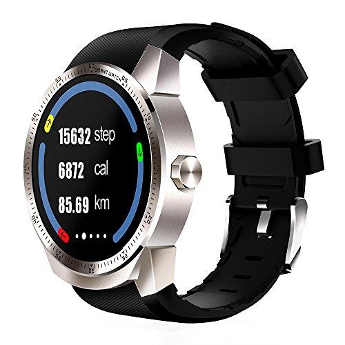 Happy-day Damen Outdoor Smartwatch Bluetooth 3G Android Smartwatch SIM Telefon GPS 4 GB Dual Core Freizeit Uhr S Silber