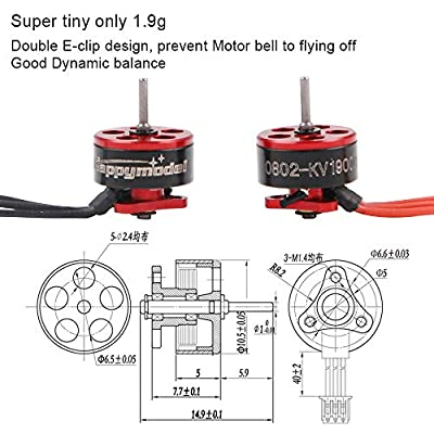 RCruning 4pcs 0802 19000KV Brushless Motors 1-2S SE0802 Micro Drone Motor for Micro FPV Racing Drone Like Snapper7 Beta65X