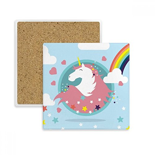 Rainbow Cloud Star Herz Smile Einhörner quadratisch Untersetzer Cup Becher Halter saugfähig Stein für Getränke 2Geschenk