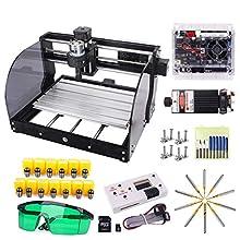 7W Laser Upgrade CNC 3018 Pro-M Grbl Control DIY Machine de gravure CNC avec carte protégée, Yofuly 3 axes PCB PVC Zone de travail 300x180x45mm (3018-Pro 7000MW avec tige d'extension ER11 Collet Set)