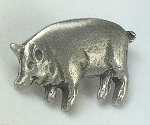 Cerdo, animales de corral hecho a mano de la solapa Pin de peltre