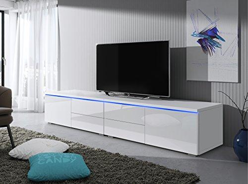 Support TV Luv 200 cm (blanc mat/ fronts blanc brillant)