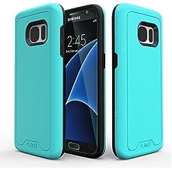 Samsung Galaxy S7 Funda, J&D [Armadura Delgada] [Doble Capa] [Protección Pesada] Híbrida Resistente Funda Protectora y Robusta para Samsung Galaxy S7 – Turquesa