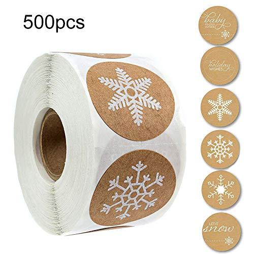 Alivier 500Pcs Adesivi adesivi fatti a mano Etichette Adesivo fiocco di neve di Natale per regali fatti in casa Mestieri o progetti fai-da-t