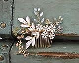 SWEET Gold Braut HaarKamm Strass Hochzeit Clip Blume Haarschmuck Kopfschmuck für Frauen