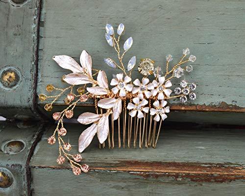SWEET Gold Clip Strass Haarspange - Handmade mit Clip Kammkopf für Frauen