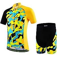 official photos fe288 4ebb2 Ateid Maillot de Ciclismo y Pantalones Cortos para Niños Amarillo-Negro XL  7-9