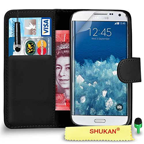 SHUKAN® FOR Samsung Galaxy S6 Premium Leather Wallet/Flip Case Cover Mini Touch Stylus Pen GREEN Dust Stopper Screen Protector & Polishing Cloth GSVL1