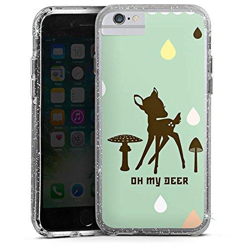 Apple iPhone 6 Bumper Hülle Bumper Case Glitzer Hülle Oh My Deer Bambi Deer Bumper Case Glitzer silber
