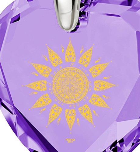 Pendentif Coeur - Bijoux Romantique en Argent 925 avec I Love You to The Sun and Back inscrit à l'Or 24ct sur un Zircon Cubique en Forme de Coeur, 45cm - Bijoux Nano Violet Clair