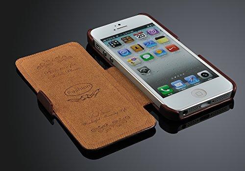 Lederhülle für Iphone 5 / 5s Hülle, ***ECHT LEDER - HANDGEFERTIGT*** - Zubehör Case Etui IPhone Flip Case Schutzhülle - Farben SCHWARZ, BRAUN, WEISS, ROT, PINK - (schwarz) braun