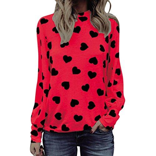 BHYDRY Frauen Lieben Drucken Langarm Crop Jumper Pullover Tops (M,Rot)