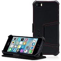 MANNA Cover per Apple iPhone SE custodia protettiva Cover in Vera Pelle Nappa Nera - Funzione EasyStand e Disign esclusivo