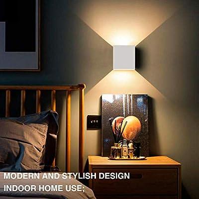2 Stücke 6W LED Wandleuchte Up Down Indoor Wandleuchte Moderne Aluminium Uplighter Downlighter Wandleuchte Leuchten für Wohnzimmer Schlafzimmer Badezimmer Küche Esszimmer, warmes Weiß von CZ