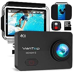 VanTop Caméra Sport 4k WiFi Ultra HD 16MP 29 Accessoires avec Télécommande Appareil Photo Caméscope Étanche 30M 170°Grand-Angle avec 2.26 Pouces écran