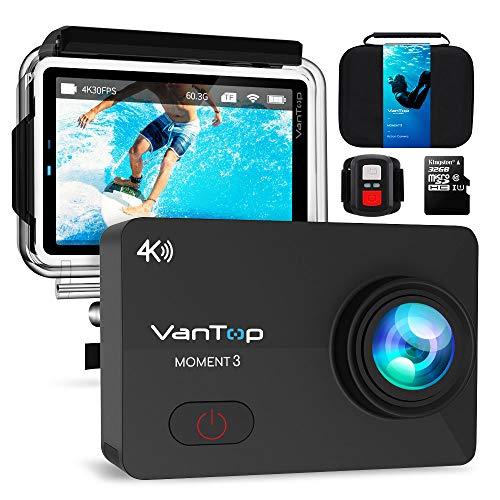 VanTop Caméra Sport 4k WiFi Ultra HD 16MP 29 Accessoires avec Télécommande Appareil Photo Caméscope Étanche 30M 170°Grand-Angle avec 2.26 Pouces écra