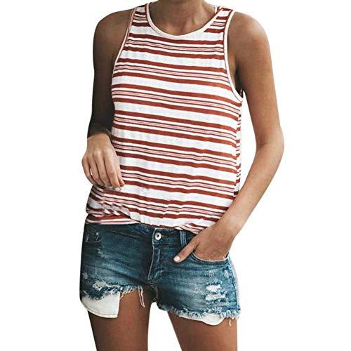 Damen Bluse Ärmellos Rundhals Gestreift Tank Top Sommer Perfect Mode Elegante Casual Basic T-Shirt Tops Oberteile Style (Color : Rot, Size : XL)