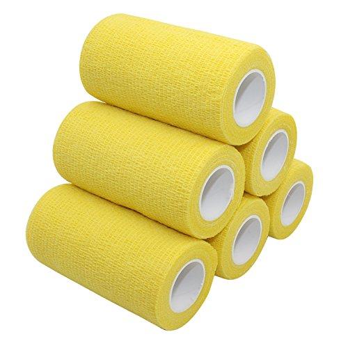 COMOmed selbstklebender verband, elastische binde ,handgelenk bandage, pflaster rolle, Dog Bandagen,Tierische Bandagen Gelb 10 cm X 4.5 m 6 Rollen (Wrap-self-stick)