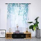 ZYY-Home curtain Tende a Vela Trasparente Motivo Impianto Blu Stampa Voile Tenda Finestra semplicità Moderna per Soggiorno e Camera da Letto 2 Pezzo,Blue,W135xL200cm