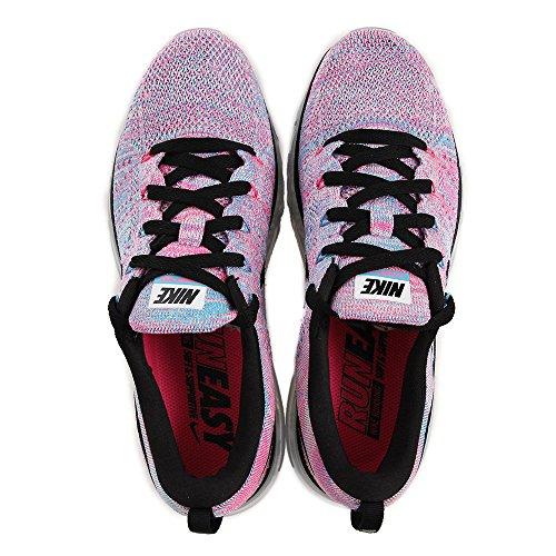 Nike Wmns Flyknit Max, Chaussures de Running Entrainement Femme Blanc Cassé - Blanco (White / Black-Chlrn Bl-Pnk Blst)