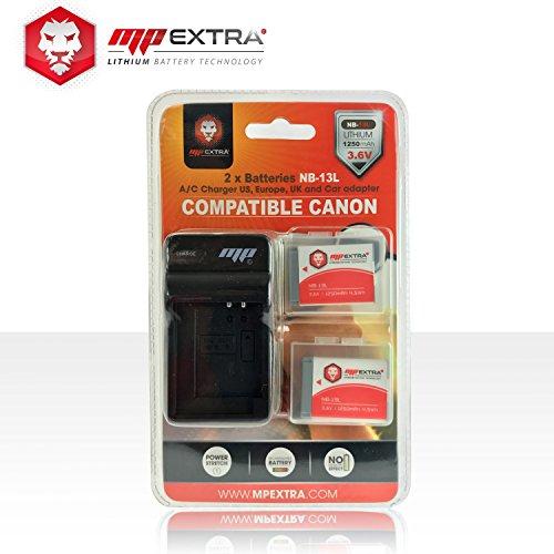 MP Extra NB-13L Pack 2 Batteries + Chargeur Europe/US + Adaptateur Allume-Cigare pour Canon Powershot Noir