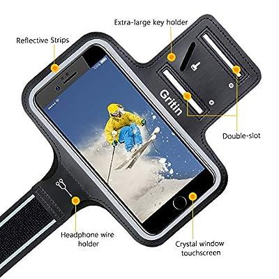 Gritin Brassard de Sport, Brassard Sport iPhone 8 plus/7/6/X,S9 S8 Jusqu'à 6.0 Pouces Universel Brassard de Course Ajustable Sangle d'extension Écologique Lycra Porte-Clés Poche de Carte-Touch ID de Gritin