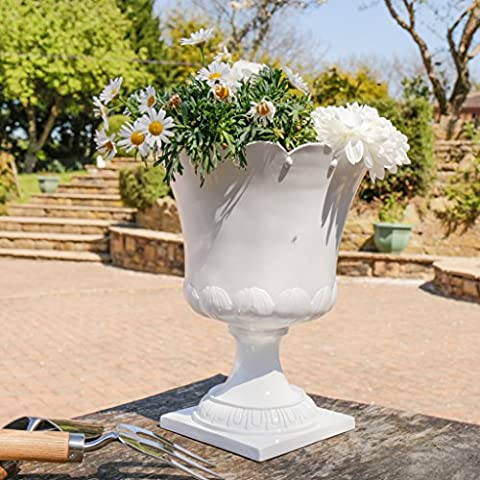Large Classical White Crown Trim Planter Urn With Tulip Design