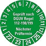 LEMAX® Prüfplakette Gepr.nach DGUV Vorschrift 54 2022,grün,Dokufolie,Ø 30mm,18/Bogen