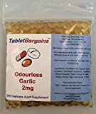 Tablet Bargains - Garlic (Odourless) 2mg - 500 Capsules from Tablet Bargains