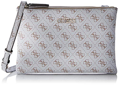 Double Tasche (Guess Damen Maci Mini Double Zip Crossbody Umhängetasche, Grau (White), 24.5x17x4 centimeters)