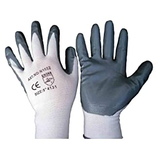 12 pairs Grey nitrile palm coated, cut resistant, work, precision, gardening gloves size 9 large (available in size 7/8/9/10) NEXT DAY FREE DELIVERY by Aaron Chemicals