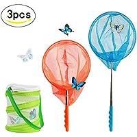 SEELOK 2 Pcs Filet à Papillon, Kit de Épuisette Insecte Télescopique avec Cage à Insectes Net Pêche pour Enfants Jouets Jardin